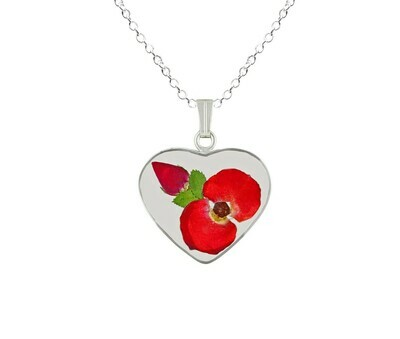 Crown of Thorns & One Rose Bud Necklace, Medium Heart, Transparent