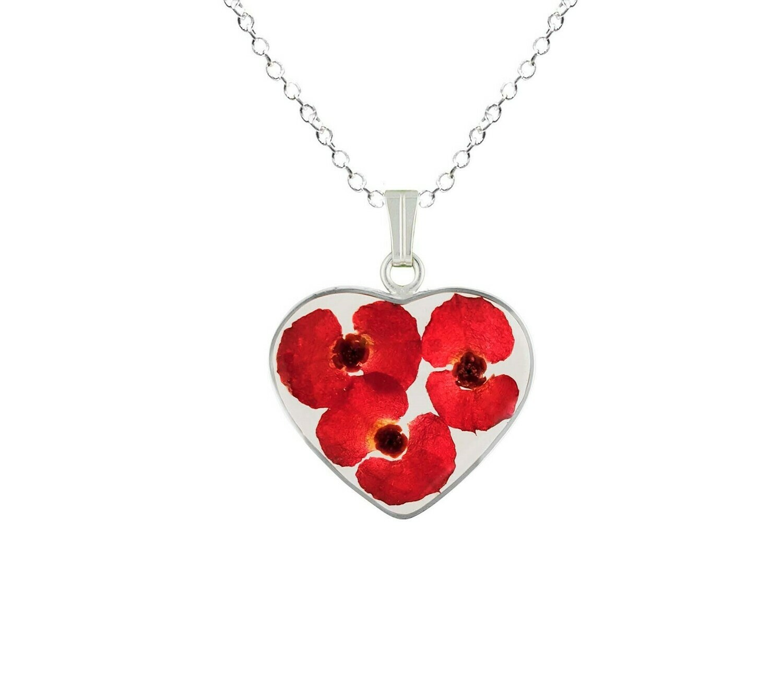 Crown of Thorns Necklace, Medium Heart, Transparent