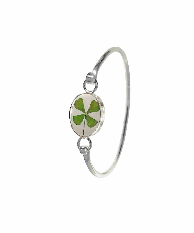Four-Leaf Clover, Oval Bracelet, Transparent