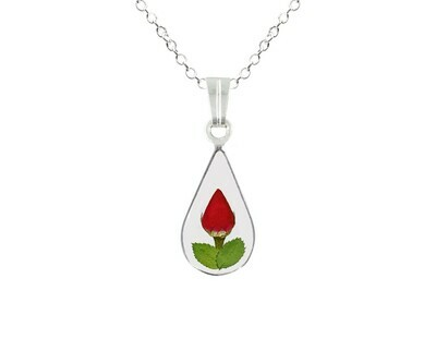 Rose Necklace, Small Tear Drop, Transparent Background