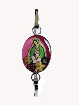 Medium oval bracelet, Pink , Guadalupe Virgen