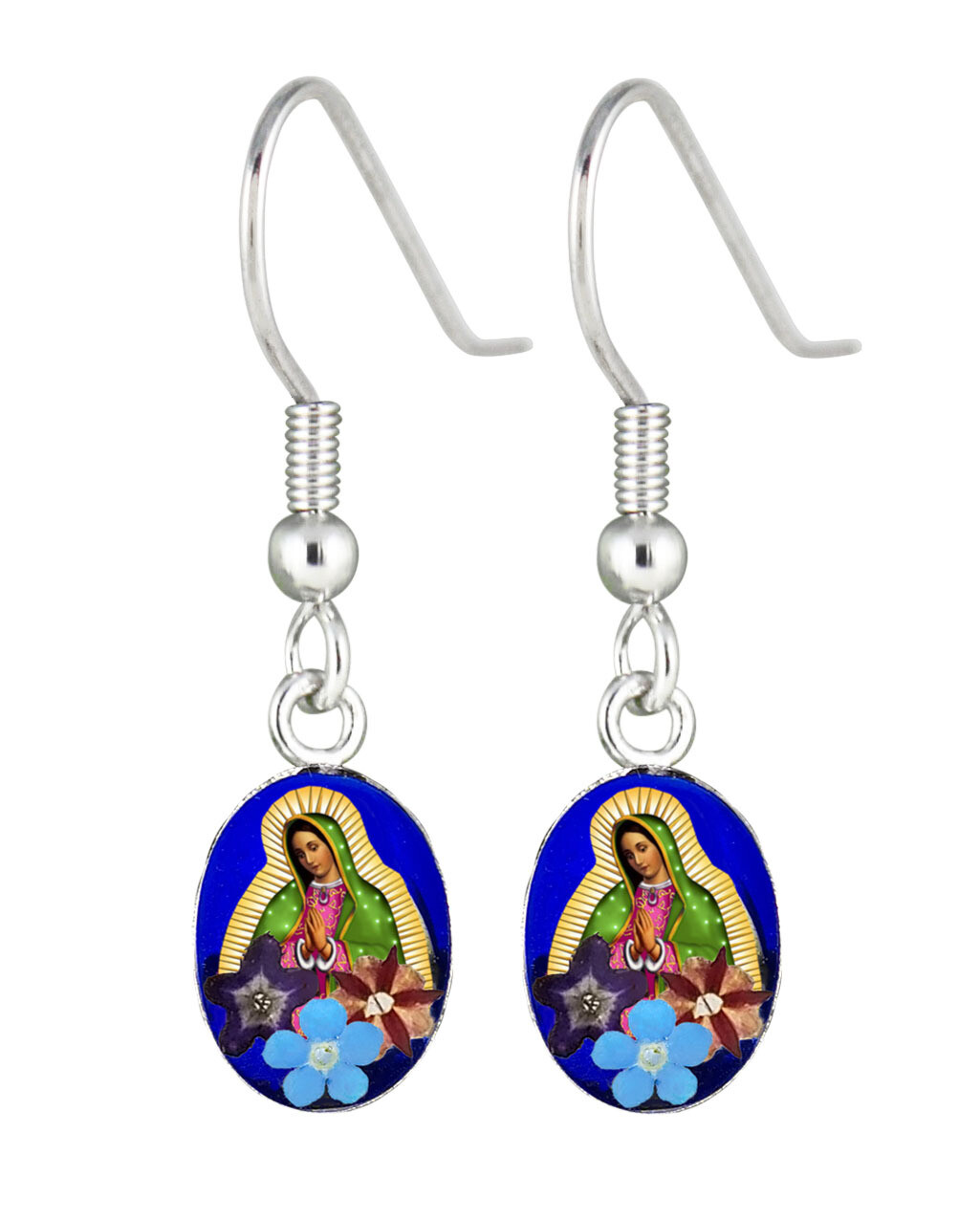 Guadalupe Virgin Oval hanging earring, Navy blue background