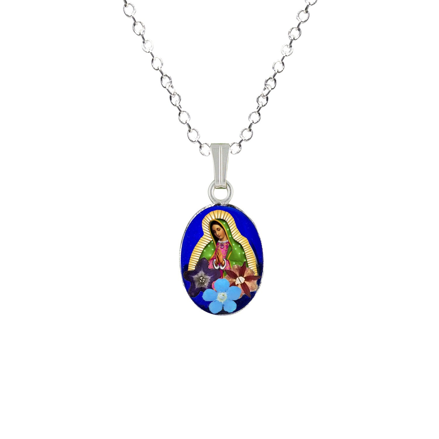 Guadalupe Virgen, Small Oval Pendant, Navy Blue, Rhodium Plated