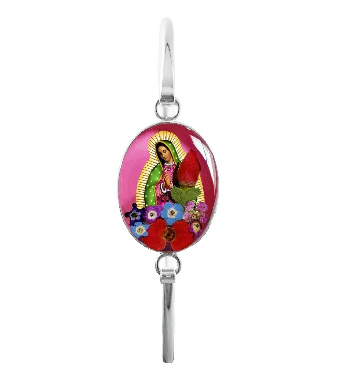 Medium oval bracelet, Pink , Guadalupe Virgen