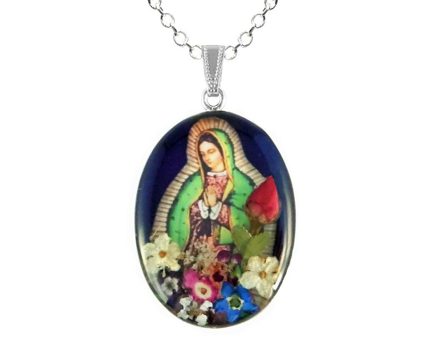 Large Guadalupe Virgen Medallion, Navy Blue, Rhodium Plated