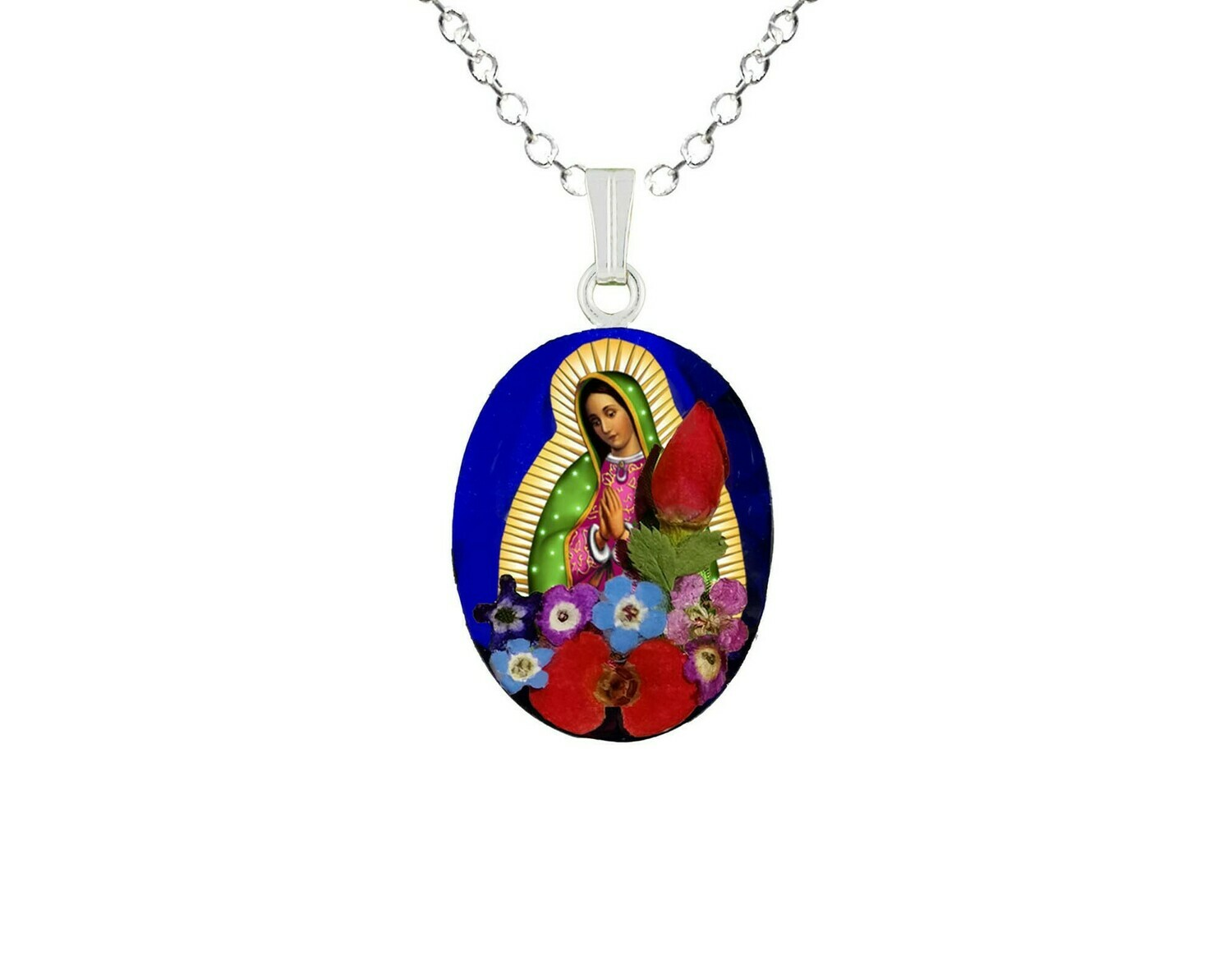Guadalupe Virgen, Medium Oval Pendant, Navy Blue Background