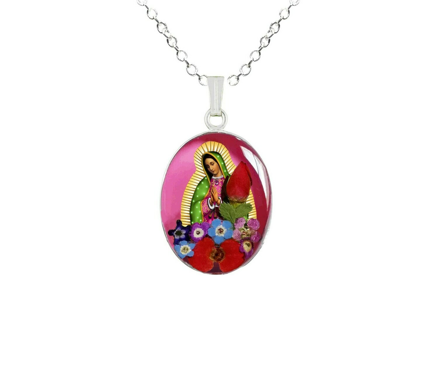 Guadalupe Virgen, Medium Oval Pendant, Pink Background
