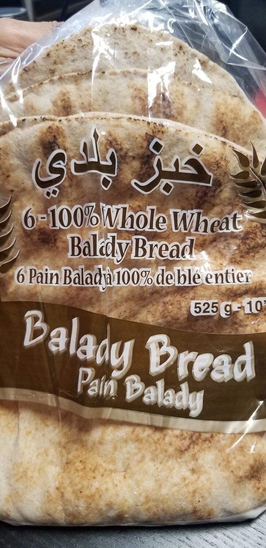 """Balady Pita 10"""" 6pc Whole Wheat (525gr)"""