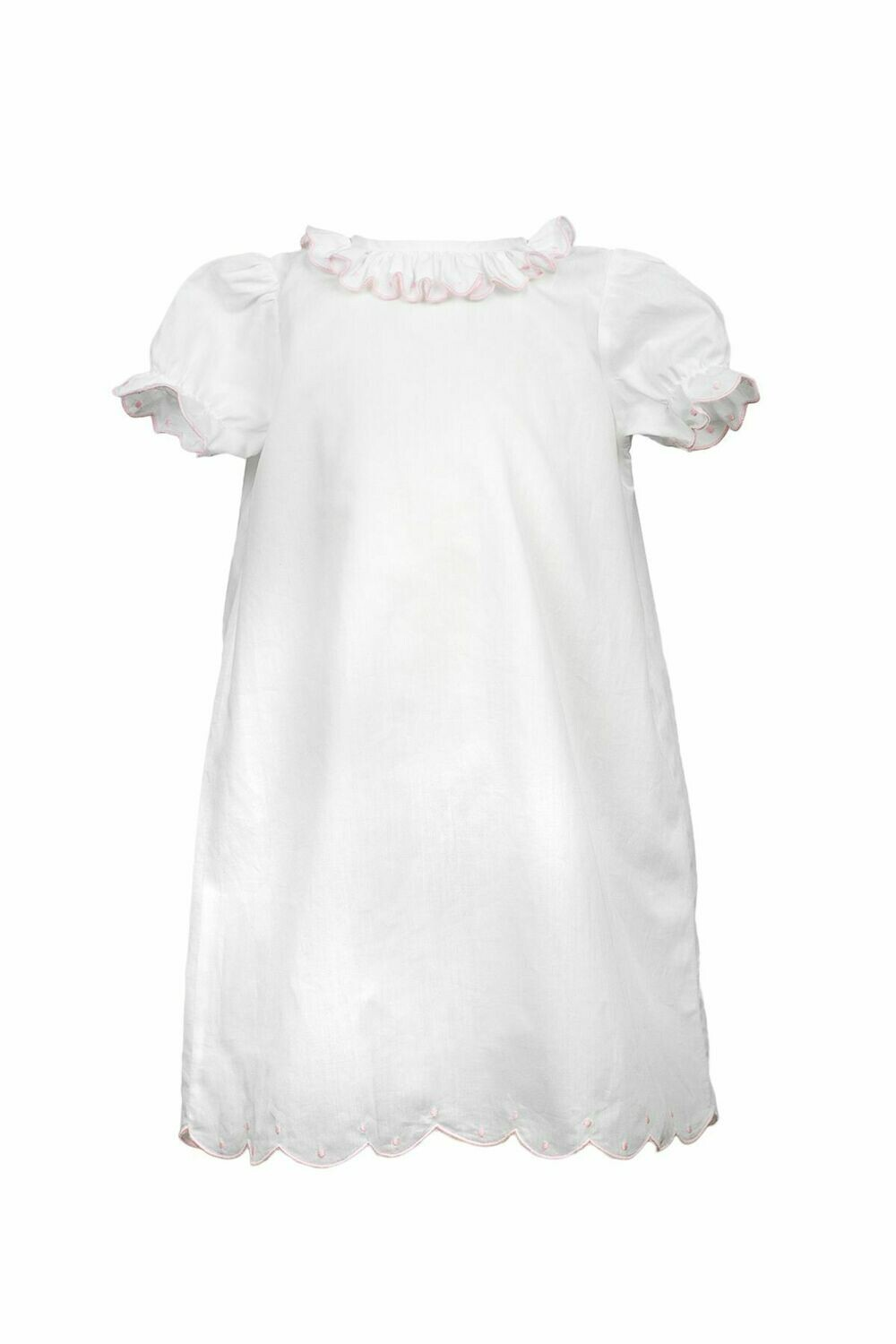Ruthie Ruffle Gown White w/Pink