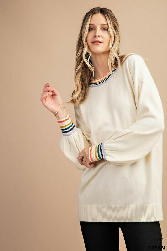 Cream Rainbow Balloon Sleeve Sweater