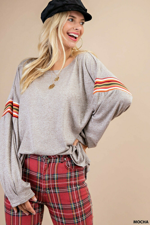 Rainbow Stripe Sleeve Sweater