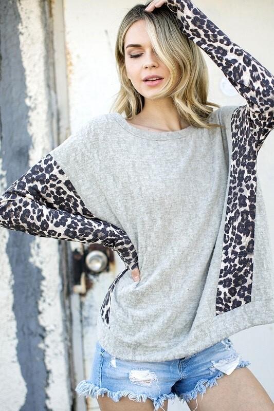 Cheetah Sleeve Lightweight Sweater