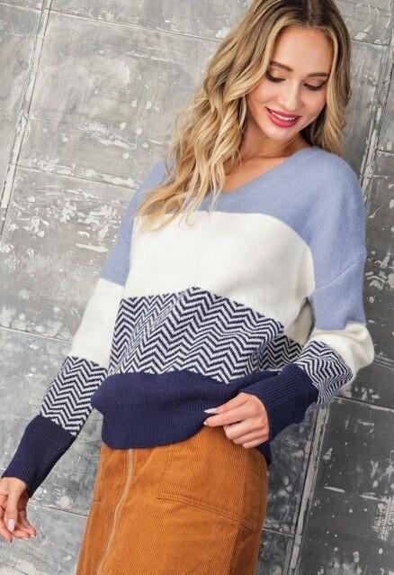 Blue Block Sweater