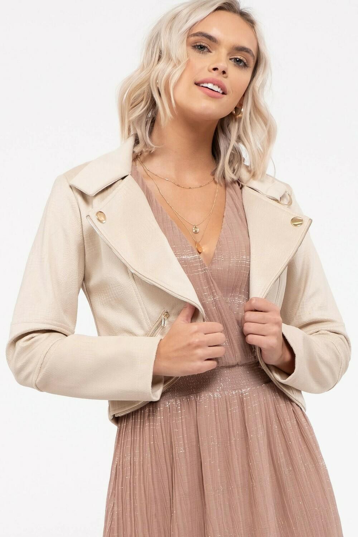 Faux Crop Leather Jacket