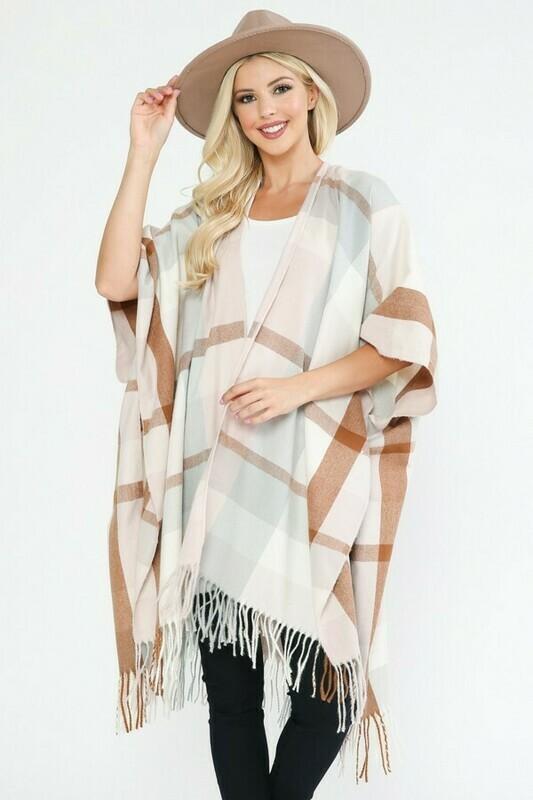 Blush Plaid Kimono
