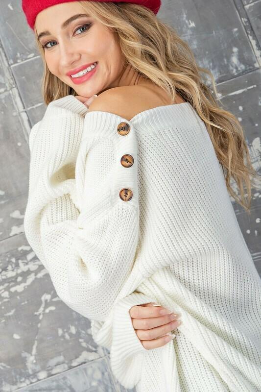 Cream Balloon Sleeve Sweater