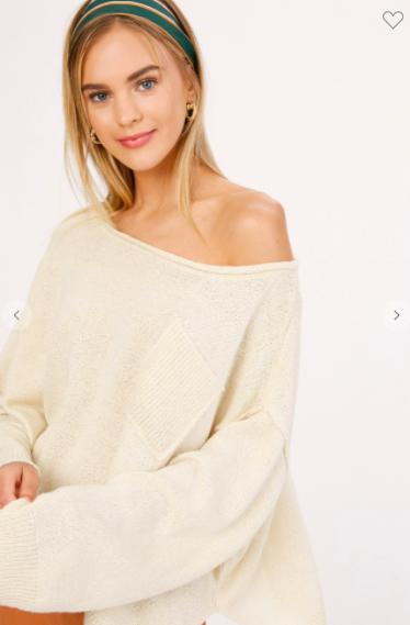 Cream Lightweight Wide Neck Knit Sweater