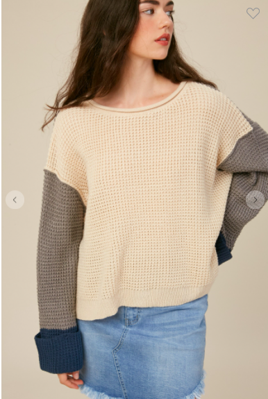 Grey Waffle Textured Color Block Sweater
