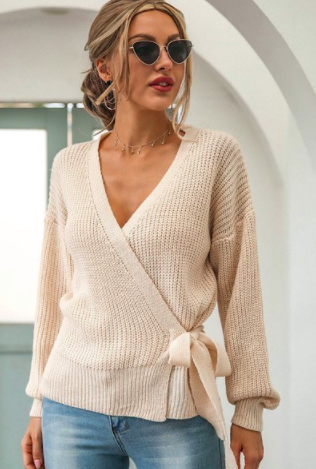 Ivory Knitted Wrap Sweater Top