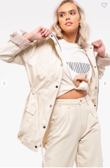 Cream Adjustable Drawstring Waist Jacket