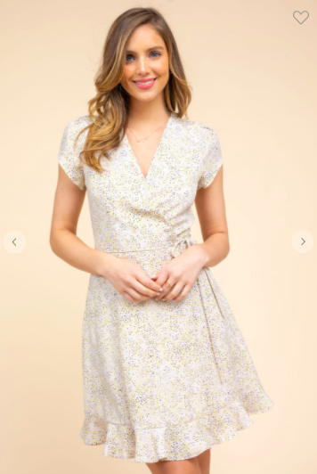 Cream Multi Dot Wrap Dress