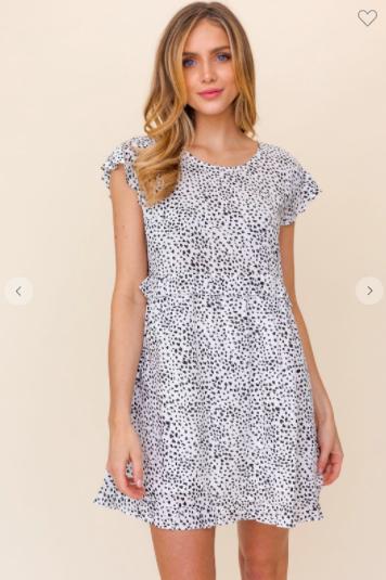 White - Black Ruffle Mini Dress