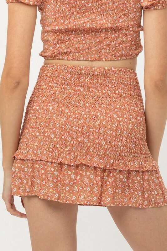 Clay Smocked Floral Skirt