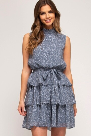 Slate Floral Ruffle Dress