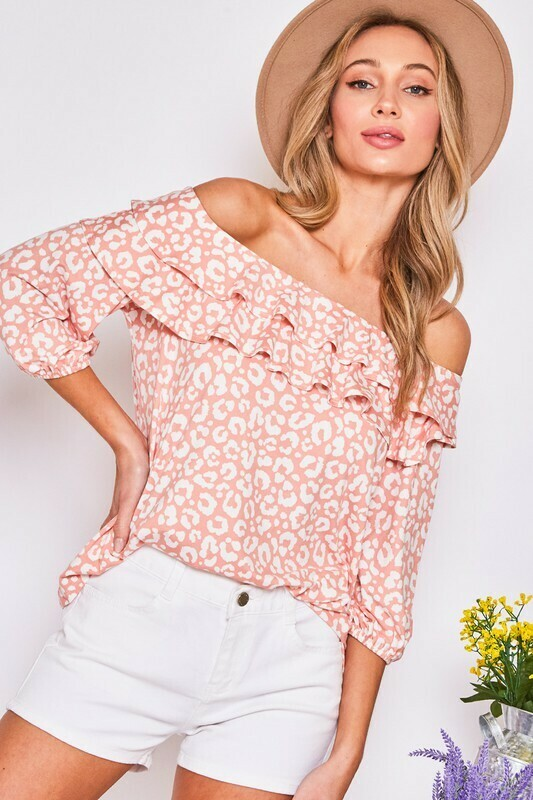 Off The Shoulder Animal Print Ruffle Top