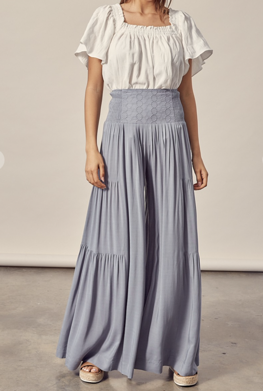 Embroidery Waist Tiered Pants