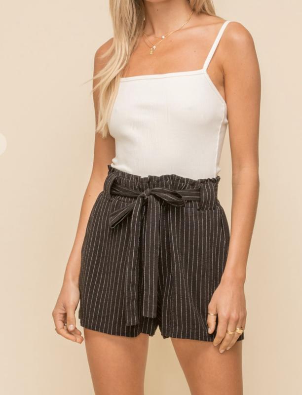 Tie Waist Pin Stripe Shorts