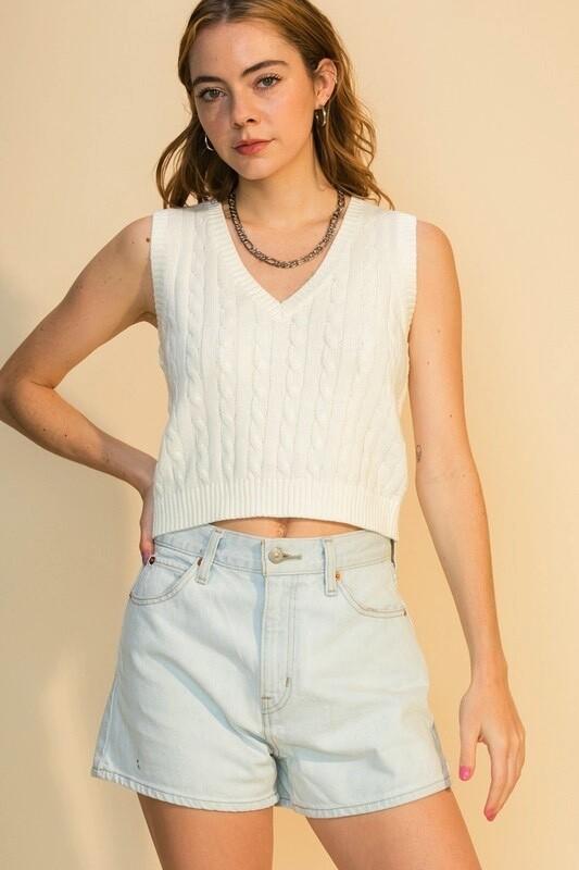 White Crop Sweater Vest