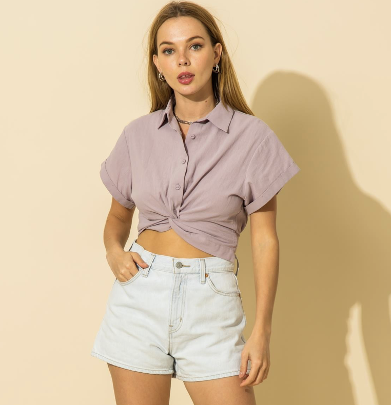 Purple Collared Cropped Top