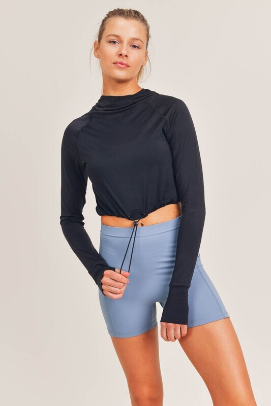 Cool-Touch Cropped Active Hoodie Top