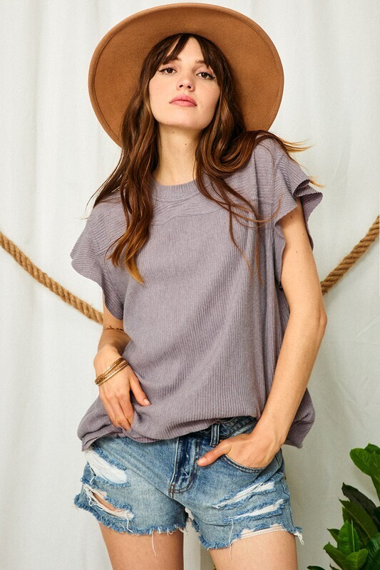 Orchid Solid Ruffle Sleeves Top