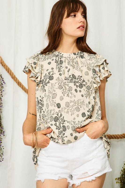 Grey Ruffle Sleeves Floral Top