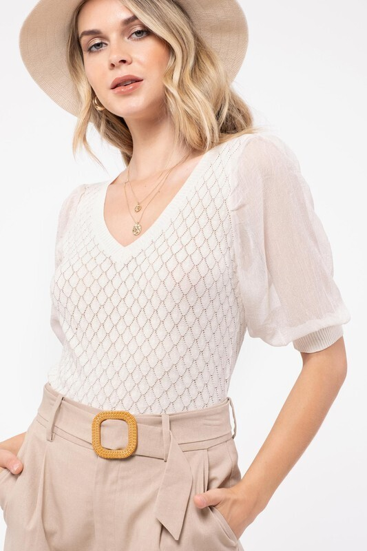 Knit Puff Sleeve Top