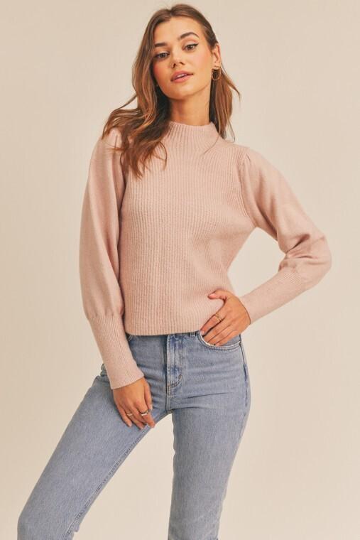 Rose Ribbed Mock Neck Sweater