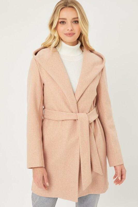 Mauve Fleece Belted Hoodie Coat
