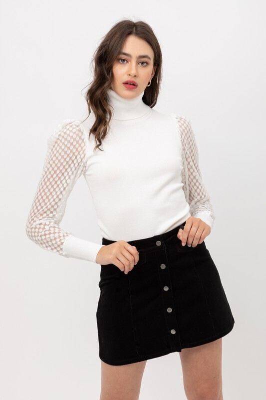 Ivory Mesh Contrast Turtle Neck Sweater Top