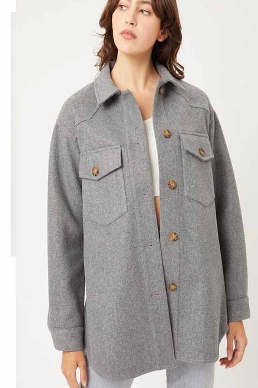 Grey Button Down Shirt Jacket