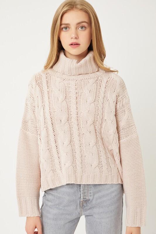 Putty Pink Turtle Neck Sweater