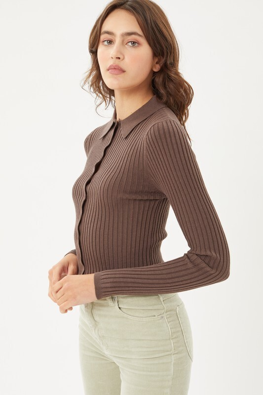 Brown Ribbed Sweater Top