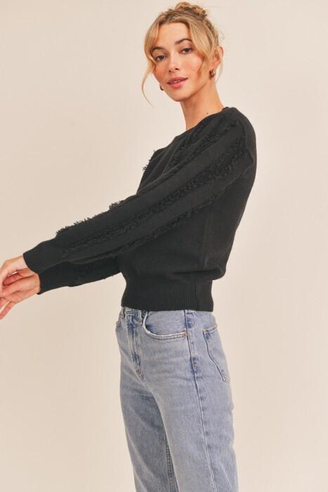 Black Fringe Sleeve Sweater