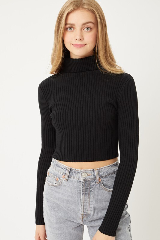 Black Cropped Turtle Neck Sweater