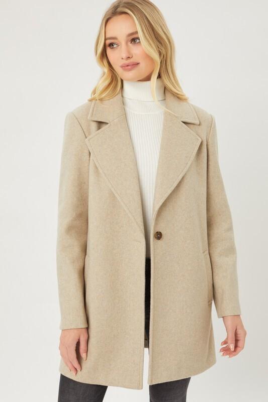 Oatmeal Fleece Single Breasted Coat