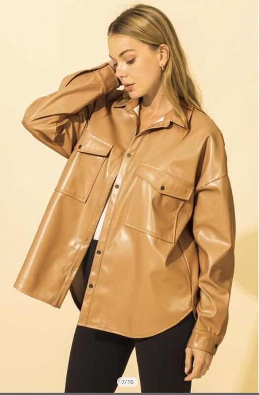 Oversized Faux Leather Jacket