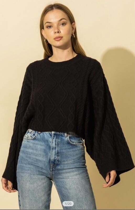 Oversized Kimono Sleeve Crop Sweater