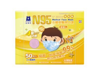 [藍鷹牌] 醫用3D立體型4層兒童2-4歲N95口罩 (粉紅色)