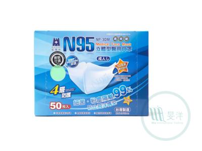 [藍鷹牌] 醫用3D立體型4層成人N95口罩 (綠色)